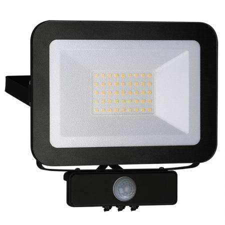 LED HQ Fluter 30W+PIR IP65 Sensor/4000K/BK/PS - LF2023S