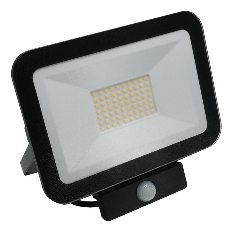LED HQ Fluter 50W+PIR IP65 Sensor/4000K/BK/PS - LF2024S