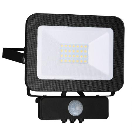 LED HQ Fluter 20W+PIR IP65 Sensor/4000K/BK/PS - LF2022S